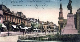 008-Losonc_Kossuth-szobor_(képeslap-Kubinyi-tér)