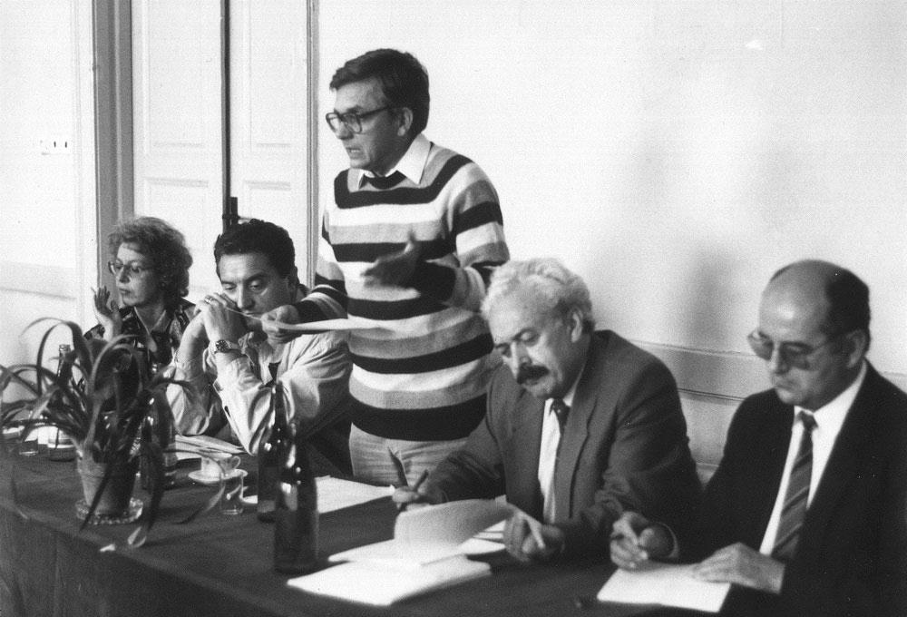 Együttélés kampány 1990 - Duray Miklós - Bauer Edit - Harna István - Szabó Rezső - Popély Gyula (Fotó: duray.sk)
